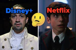 "Hamilton is on the left labeled ""Disney+"" with a think face emoji in the center and 7 from ""Umbrella Academy"" on the right labeled, ""Netflix"""