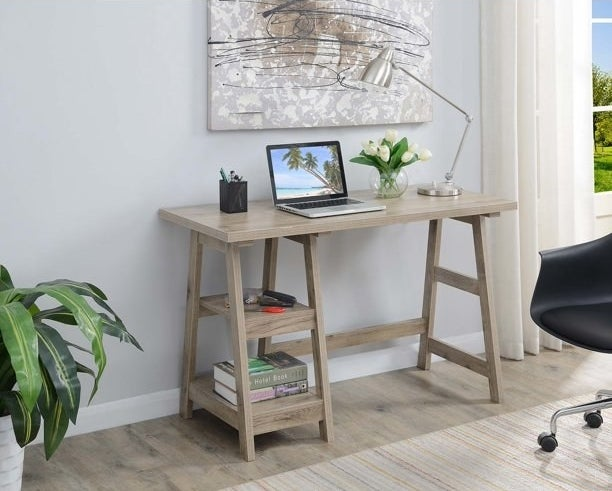 The desk in a decorated living room