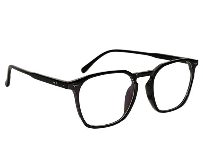 A pair of anti-glare glasses in black