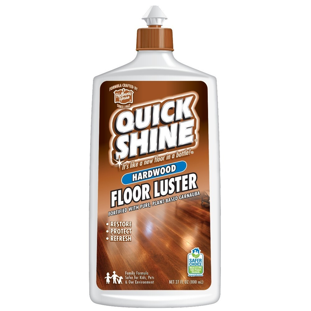 A 27-ounce bottle of Quick Shine hardwood floor luster which is like a new floor in a bottle and is fortified with pure, plant-based carnauba to restore, protect and refresh hardwood