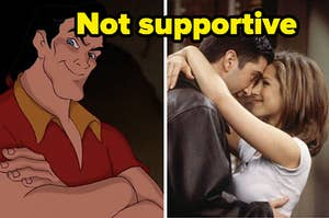 """Gaston is folding his arms on the left with Ross and Rachel cuddling on the right labeled, """"Not supportive"""""""