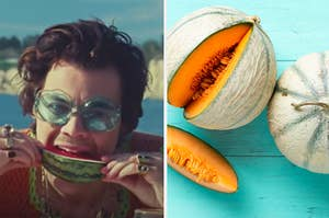 Harry Styles is eating a watermelon on the left with a sliced cantaloupe on the table on the right