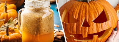 A pumpkin latte is on the left with a woman holding a carved pumpkin on the right