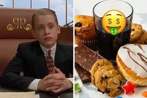 Richie Rich is on the left with a money emoji over a bunch of sweets