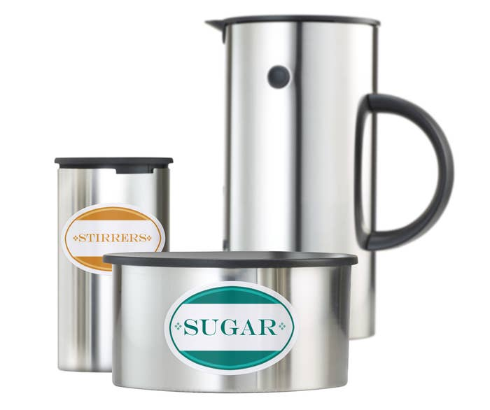 Various kitchen items with labels for Sugar and Stirrers