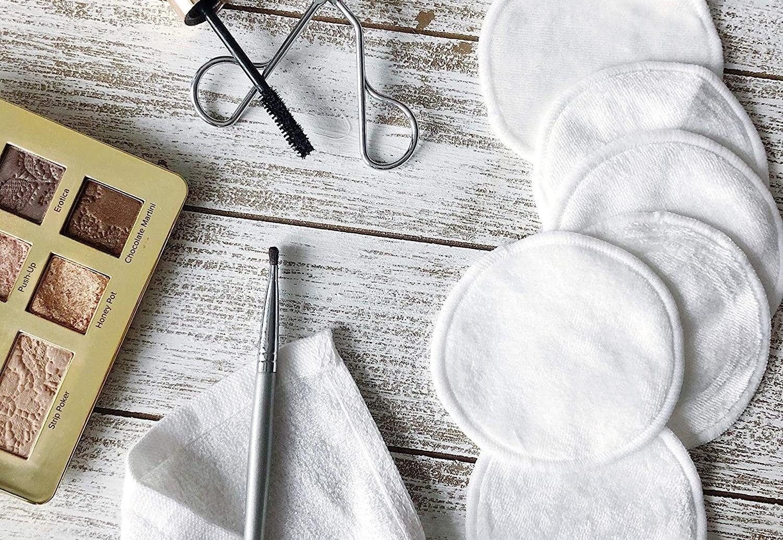 A set of makeup pads beside makeup