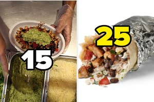 """A man is building a burrito bowl labeled """"15"""" with a burrito on the right labeled, """"25"""""""