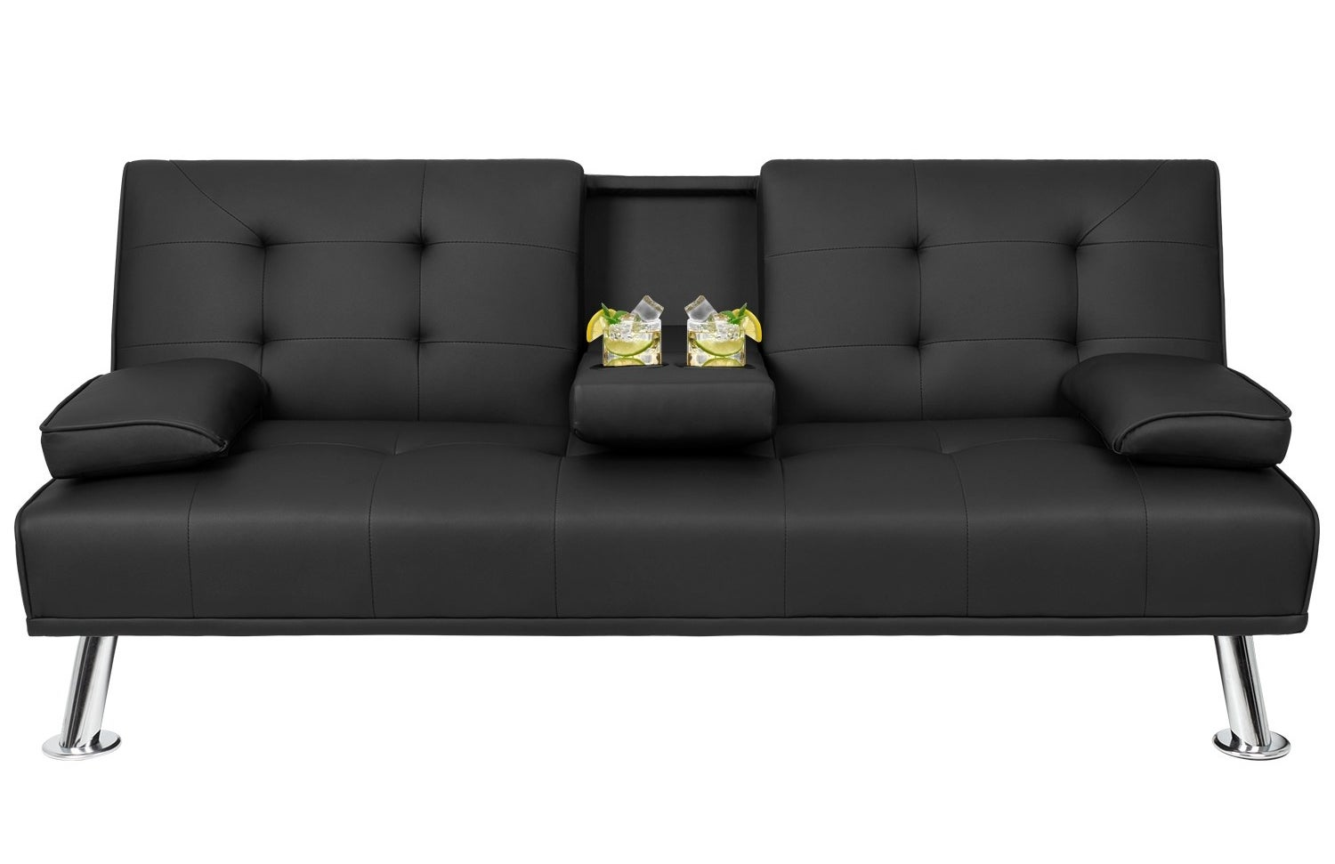 Black futon with cupholders in center console and silver legs