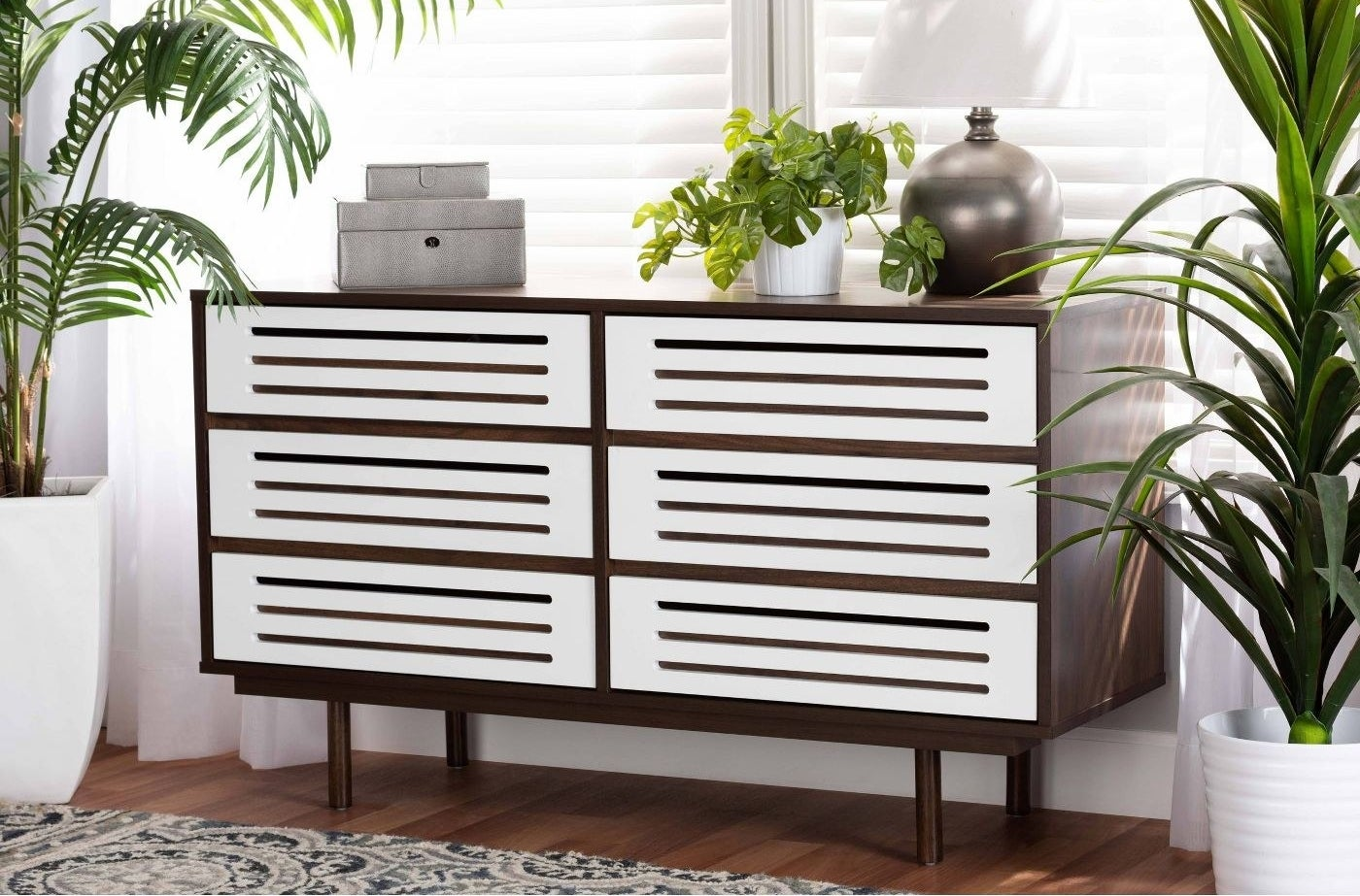 Two-toned dresser in living space