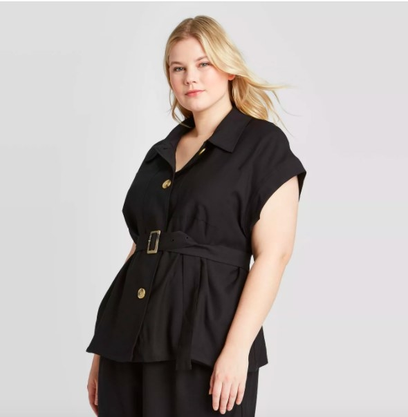 Model wearing the black jacket
