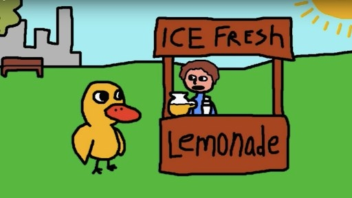 An animated duck getting some lemonade from a kid's home-made stand