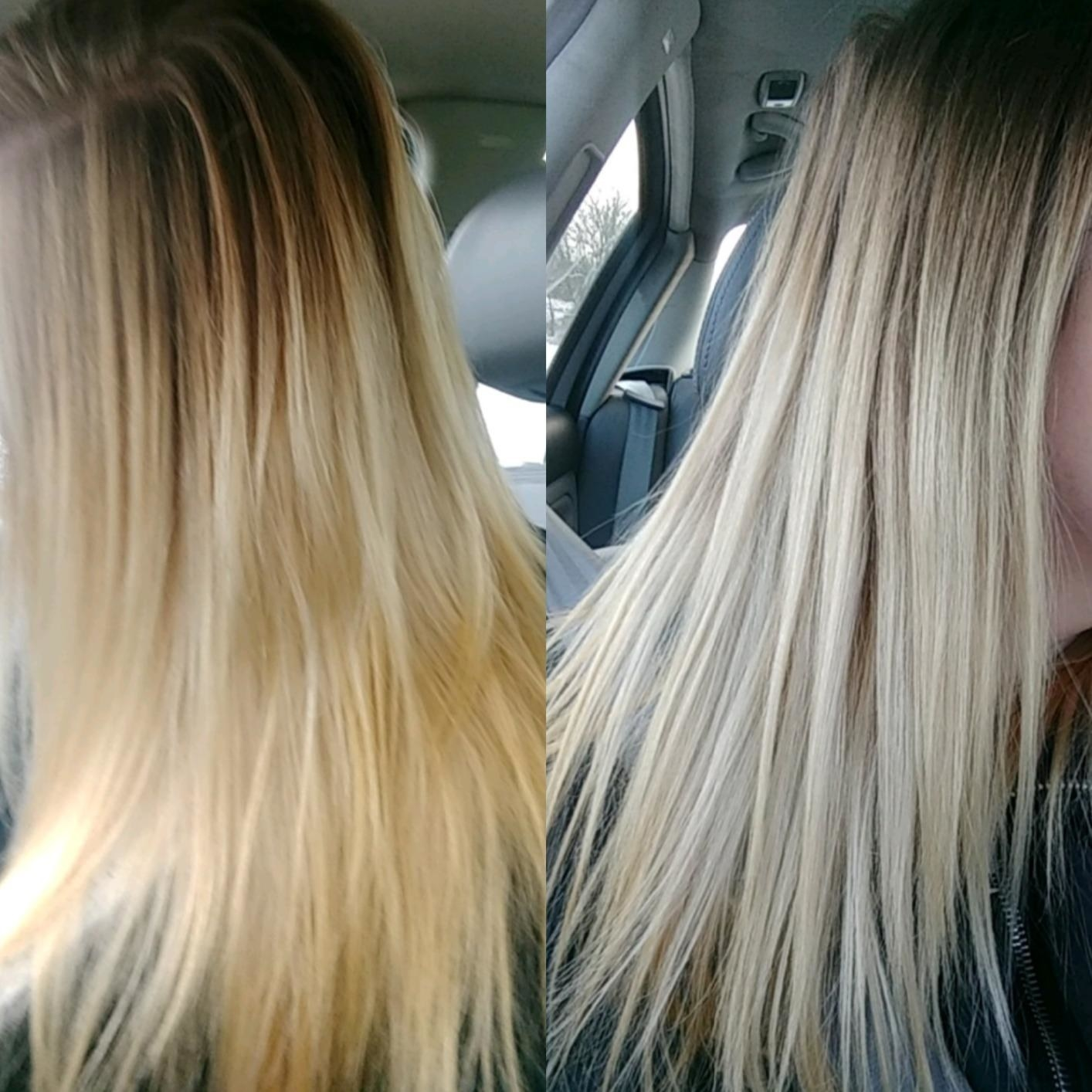 left: reviewer hair looking a bit orange right: hair looking more platinum blonde