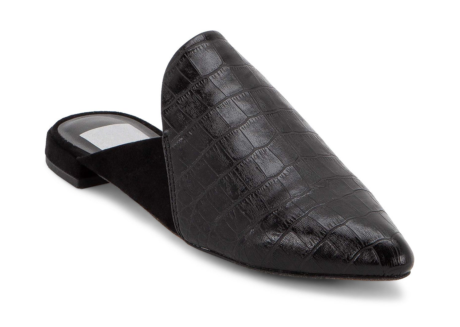 black faux leather croc mules