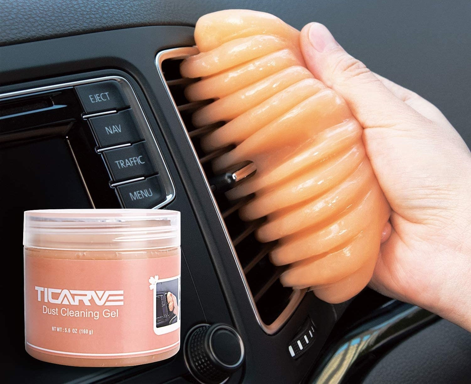 The TICARVE Dust Cleaning Gel removing dust from a car's air vent.