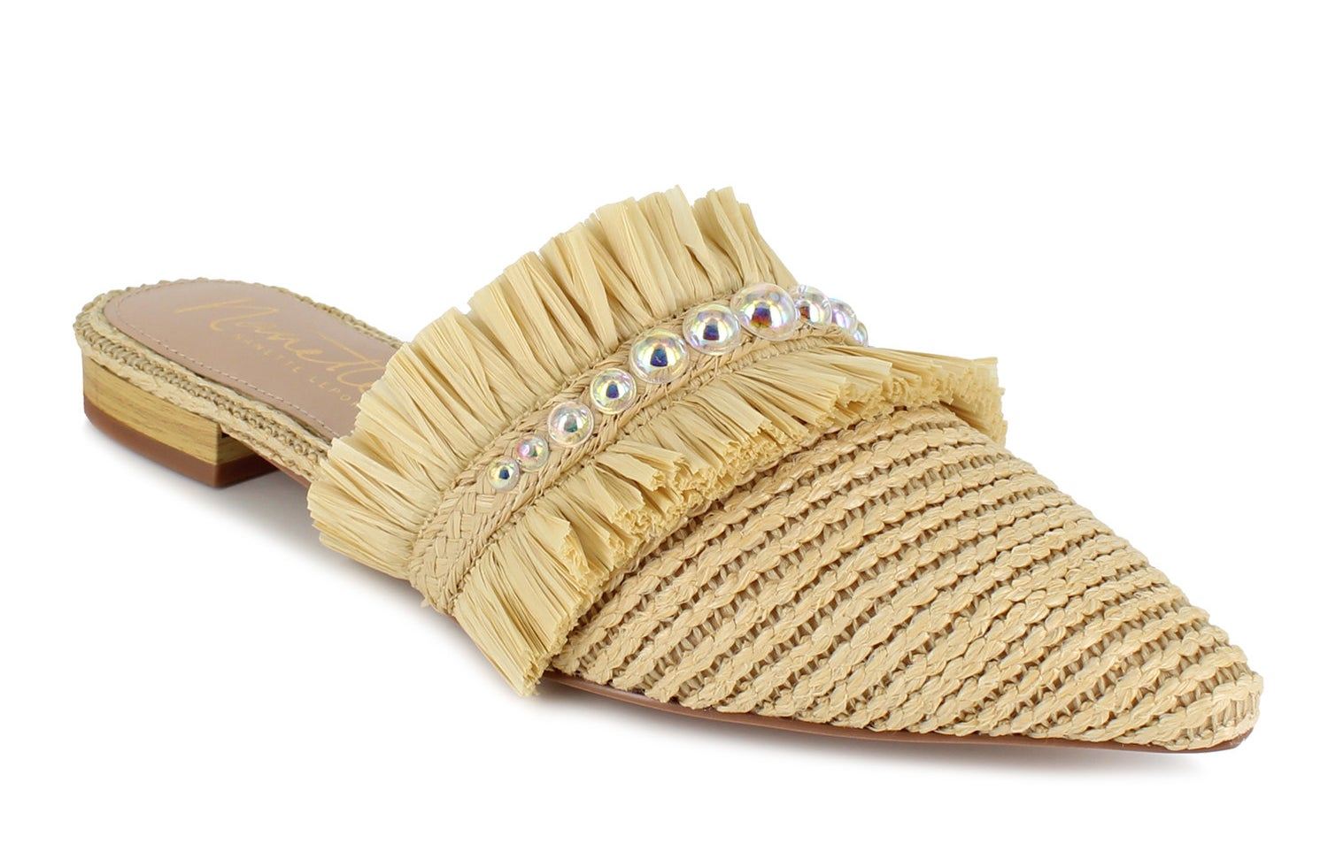 raffia pointed toe mule flats with fringe and rhinestone details