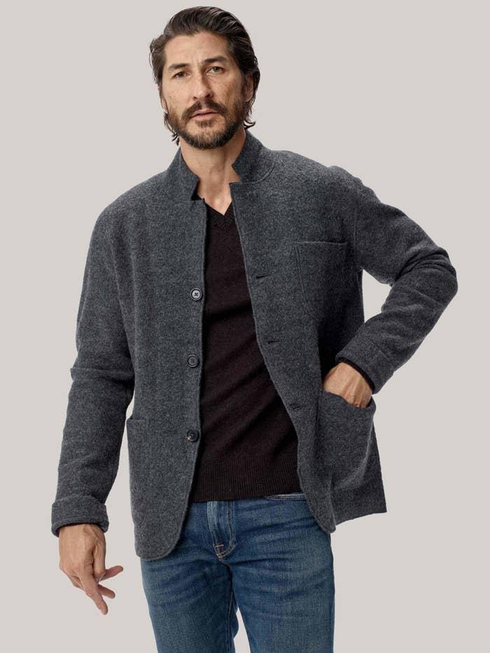 Model wearing Buck Mason felted wool chore coat in charcoal