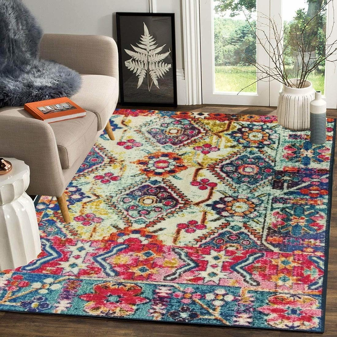 The rug displayed in a living room.