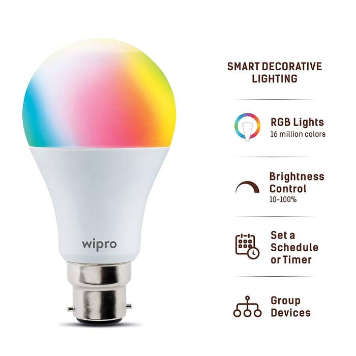 A Wipro smart bulb with various features listed alongside, such as brightness control and scheduled timer options