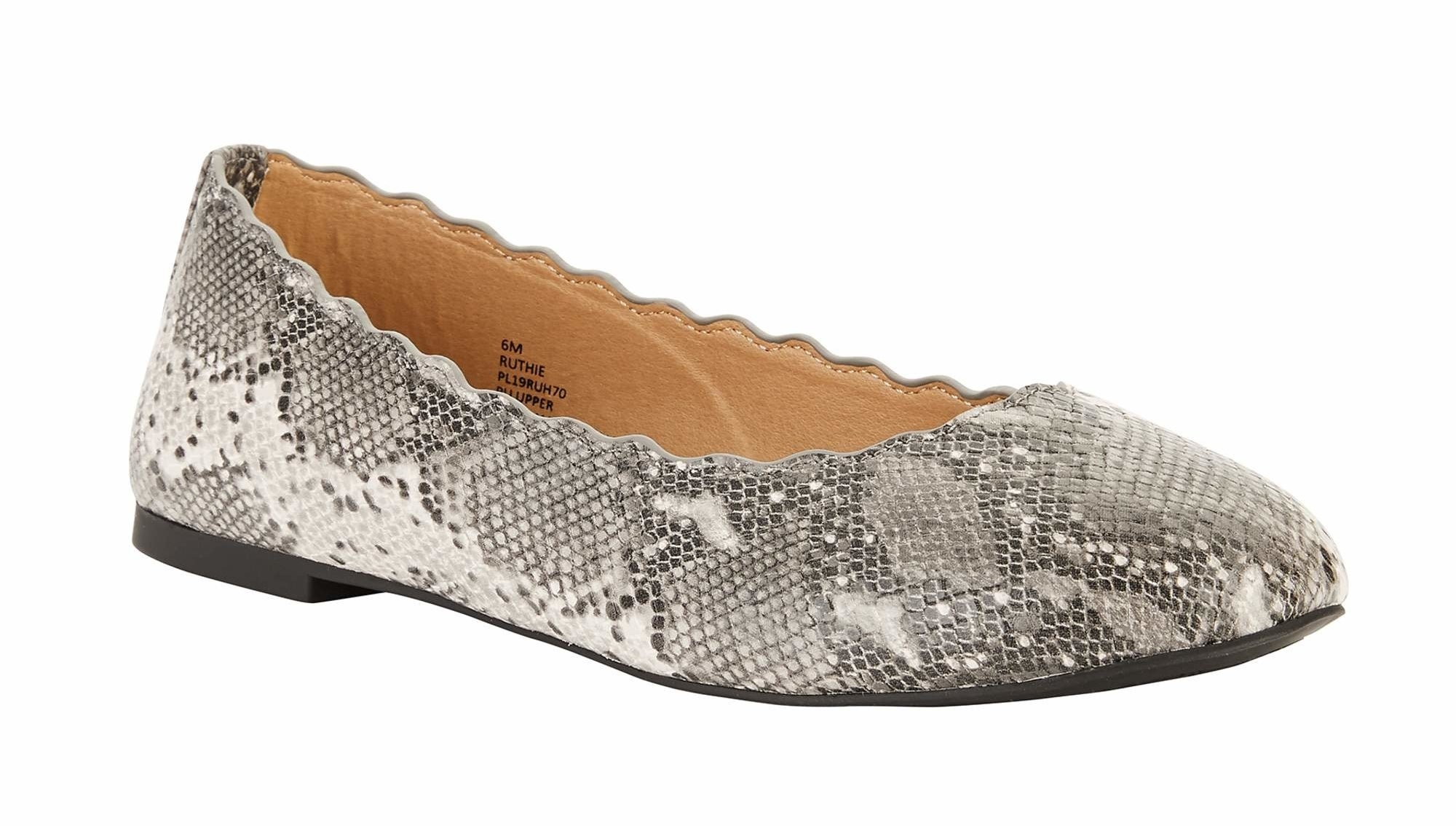 scalloped edge faux suede flats in snakeskin print