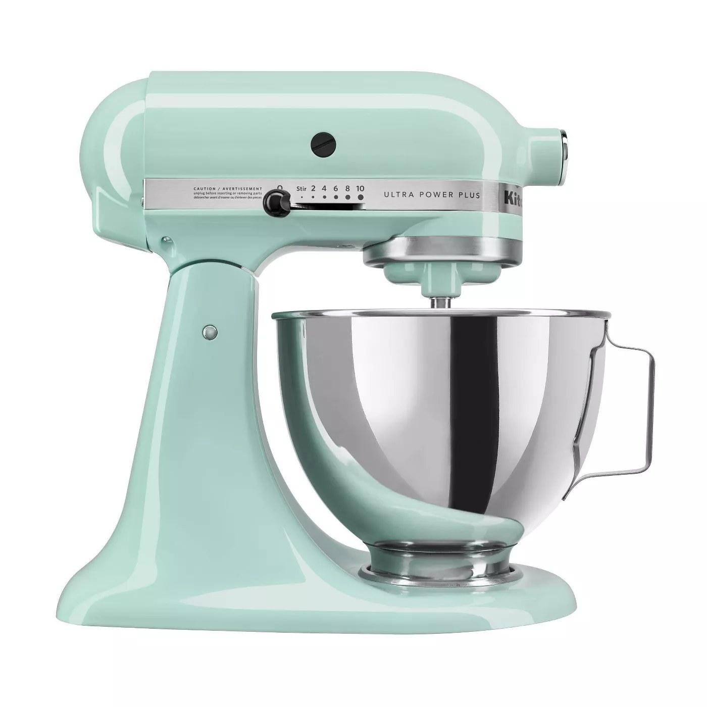An ice-blue KitchenAid mixer