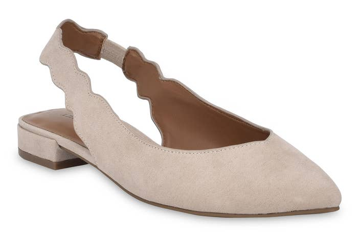 cream pointed toe slingback scalloped flats
