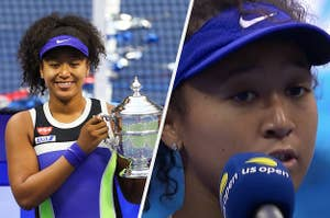 Side by side of Naomi holding her Grand Slam trophy and speaking intro the mic at the US Open