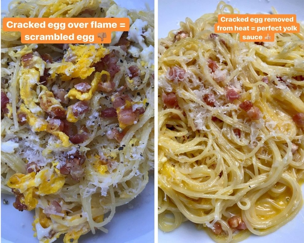 Two different shots of lazy carbonara, one with the yolk cooked through and another topped with runny egg yolk.