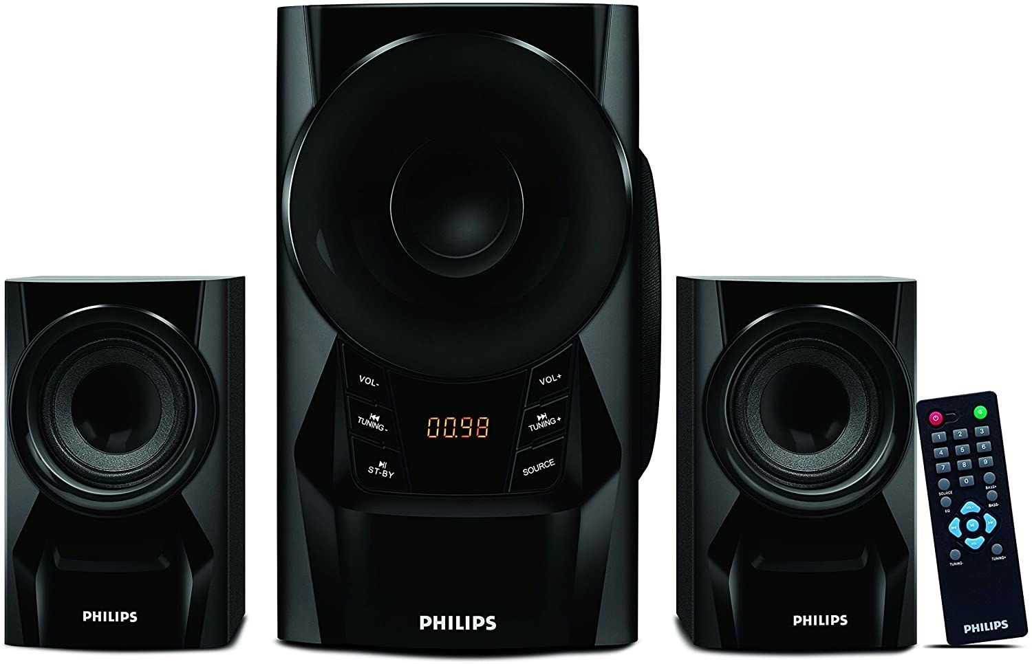 Philips IN-MMS6080B/94 speakers in black, with a remote next to it.