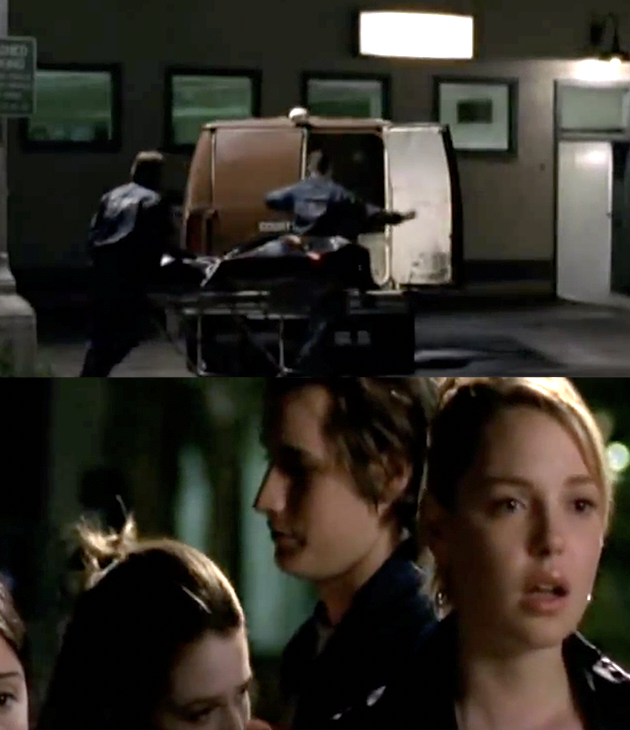 the main characters see Alex's body being put in a coroner's van