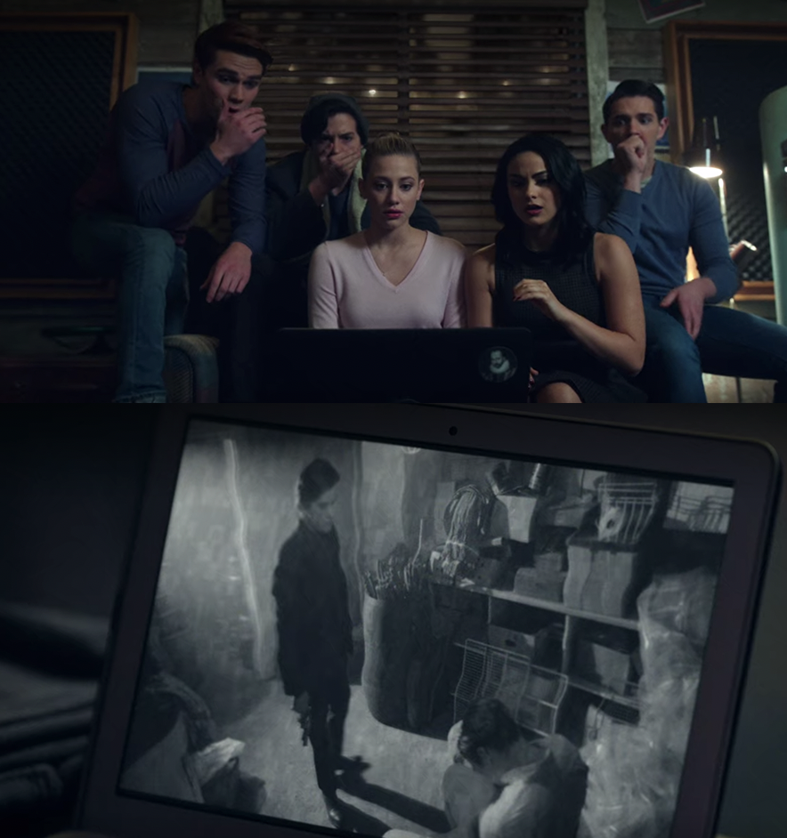 Betty, Archie, Veronica, Jughead, and Kevin watching the footage of Clifford killing Jason