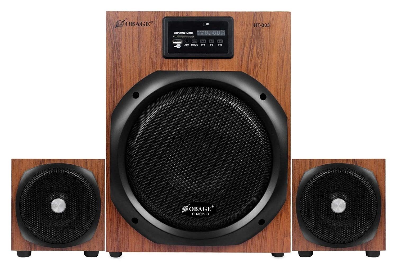 Obage HT-303 speakers in brown and black.