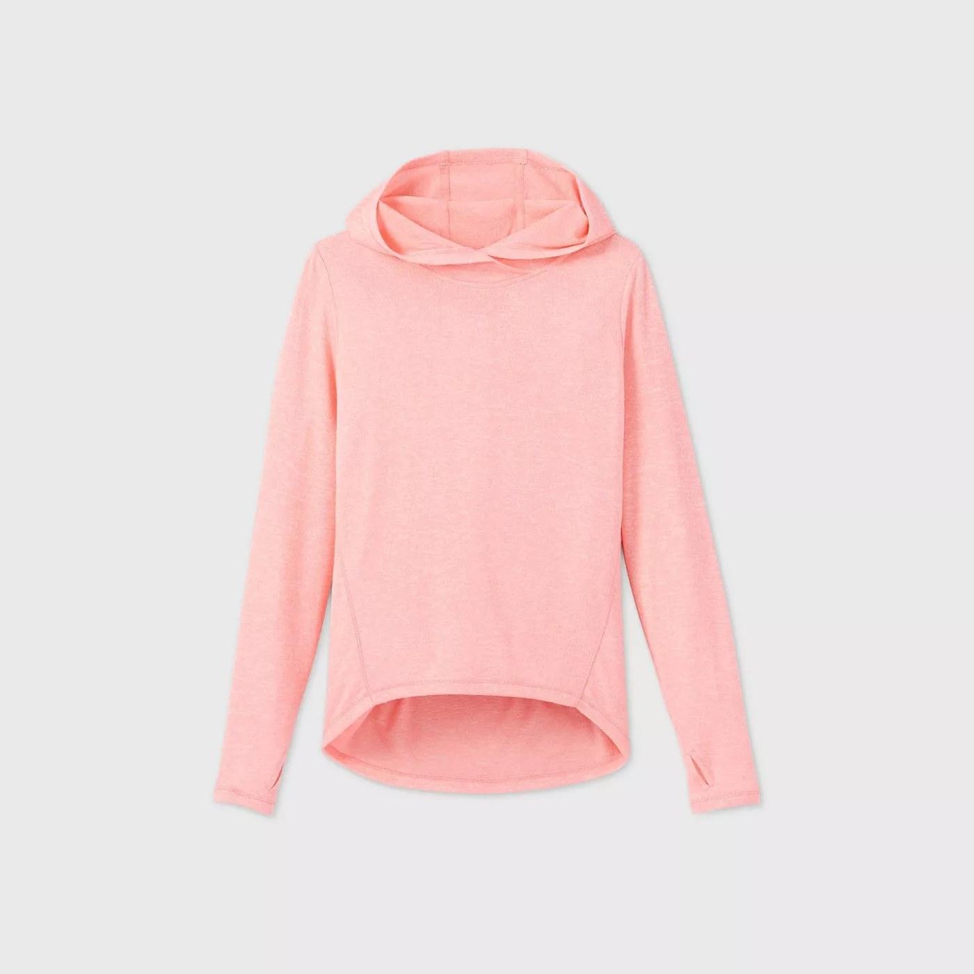 A pink, hooded sweatshirt