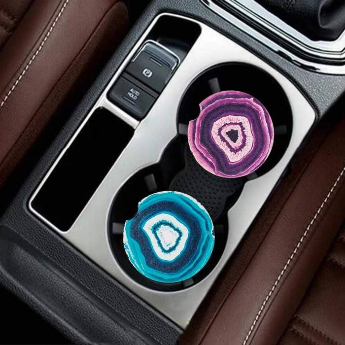 top down view of the drink coasters in a drink cup holder
