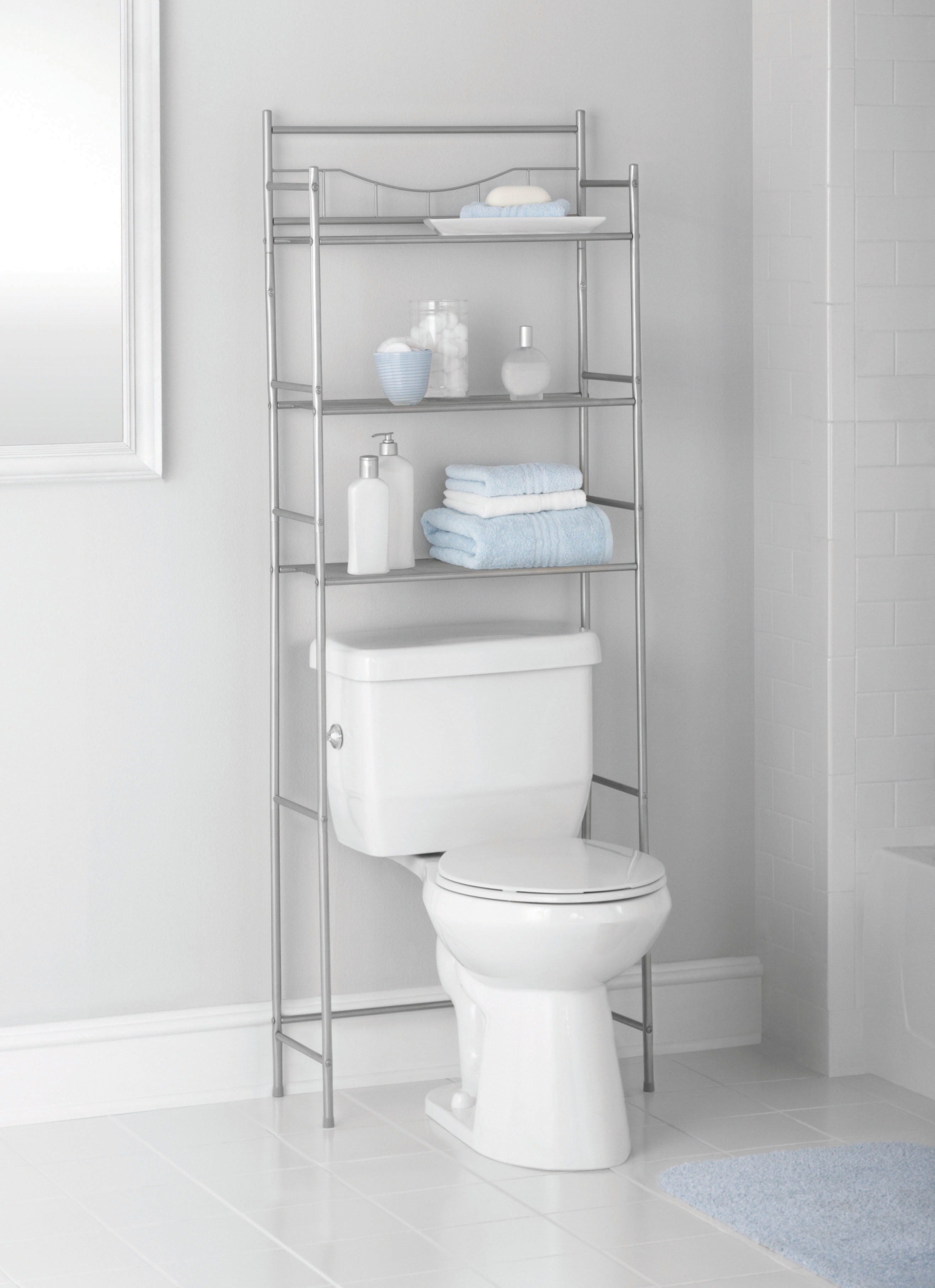 Metal shelving on and around a toilet