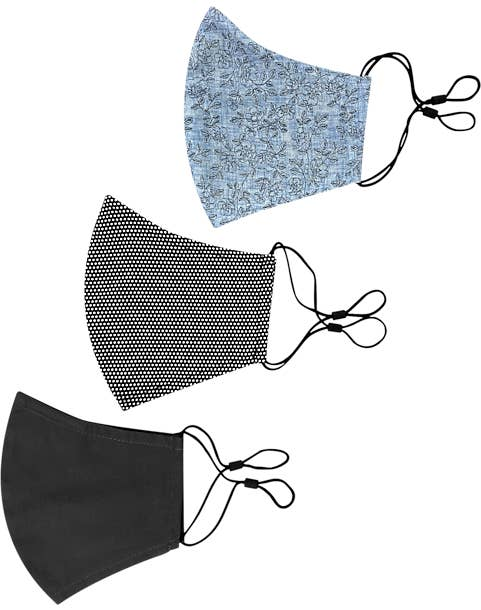 Con.Struct gray and blue print non-surgical face masks (one dark charcoal, one charcoal with white dots, and another with a light blue floral design)