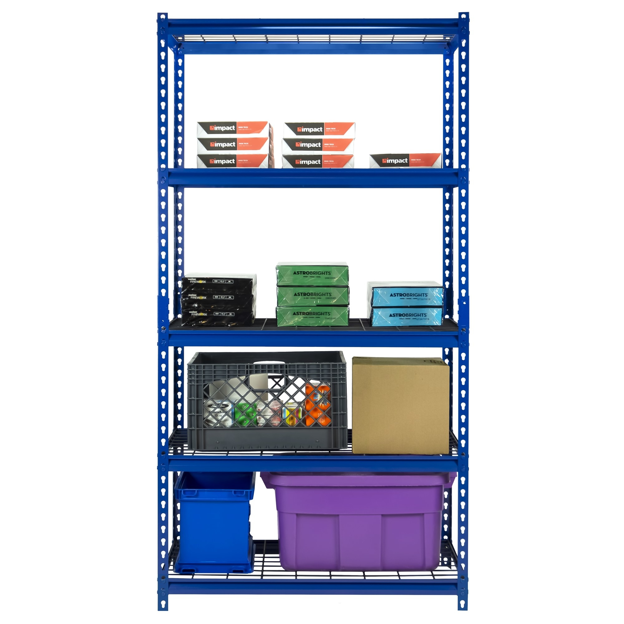 Blue garage shelving holding bins, boxes and paper