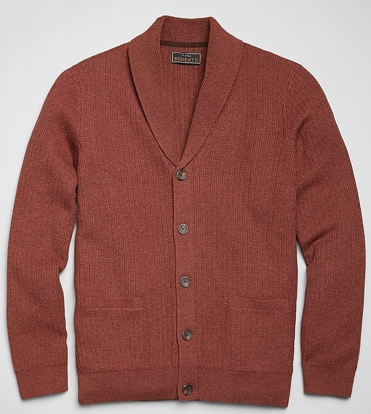 Reserve collection shawl cardigan sweater in rust