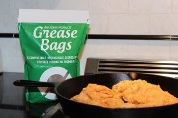 The bag next to a pan of frying food