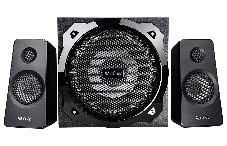 Infinity (JBL) Hardrock 210 speakers in black.