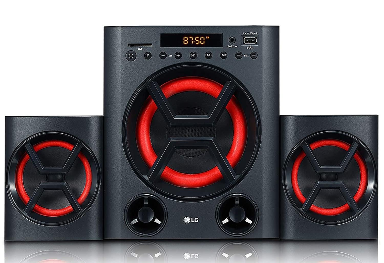 LG - LK72B speakers in black with red lighting.