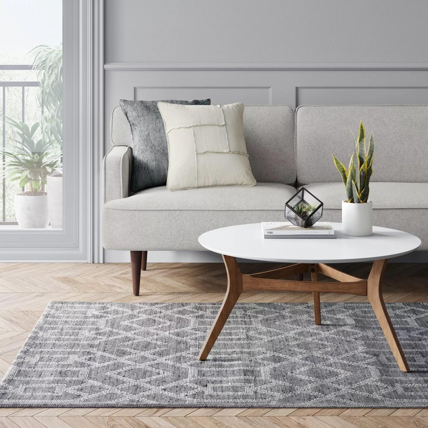 A gray geometric rug