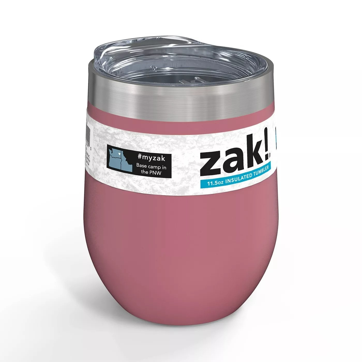 A pink, insulated tumbler with a cover