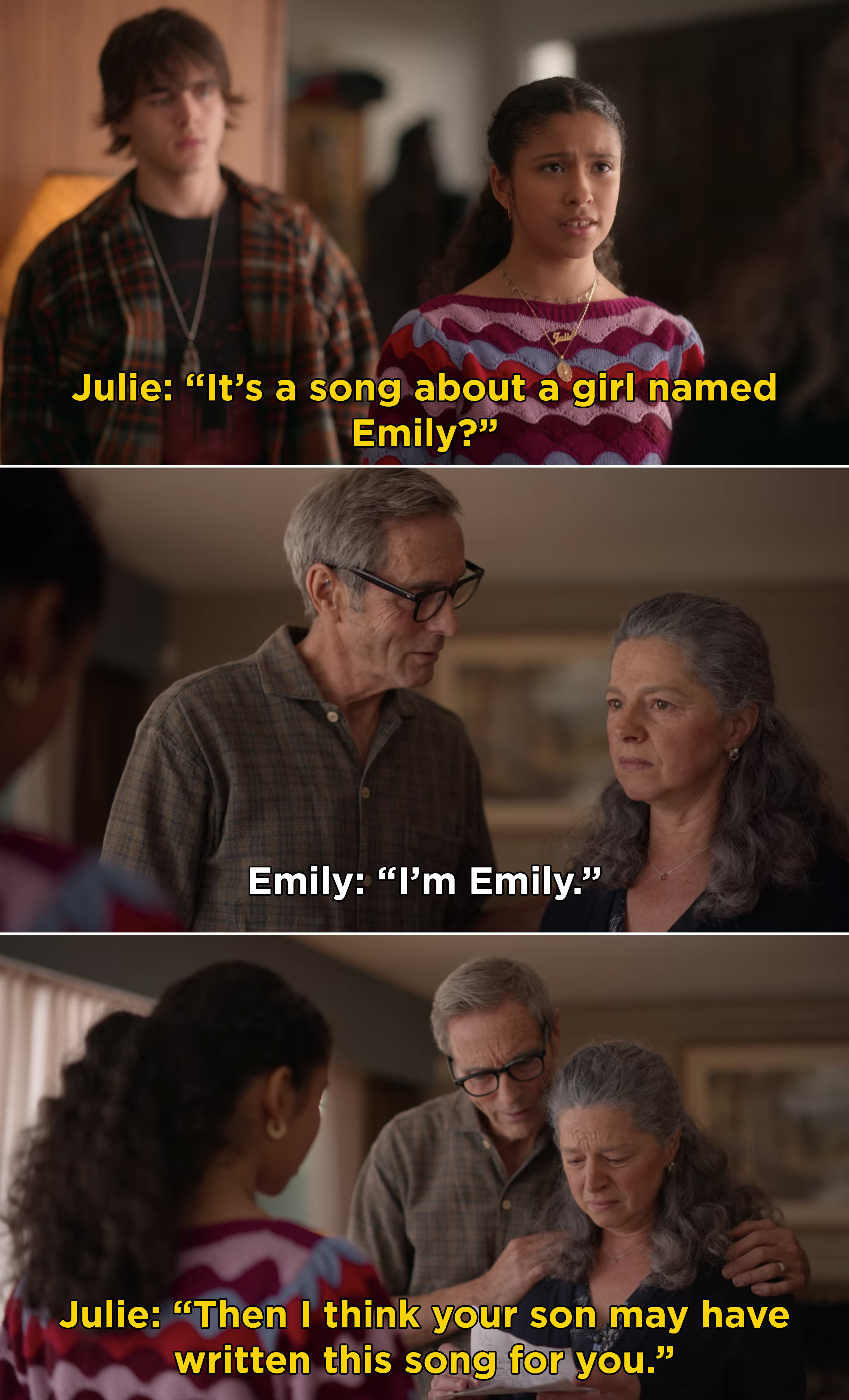 Julie telling Luke's parents she found a song about a girl named Emily