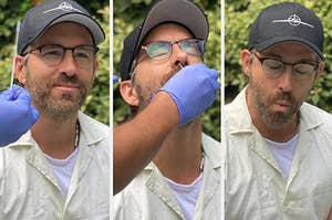 Ryan Reynolds smiling near a q-tip / Ryan getting his nose swabbed / Ryan making an uncomfortable face