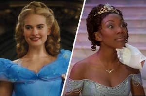 A live-action Cinderella is on the left with Brandy as Cinderella on the right