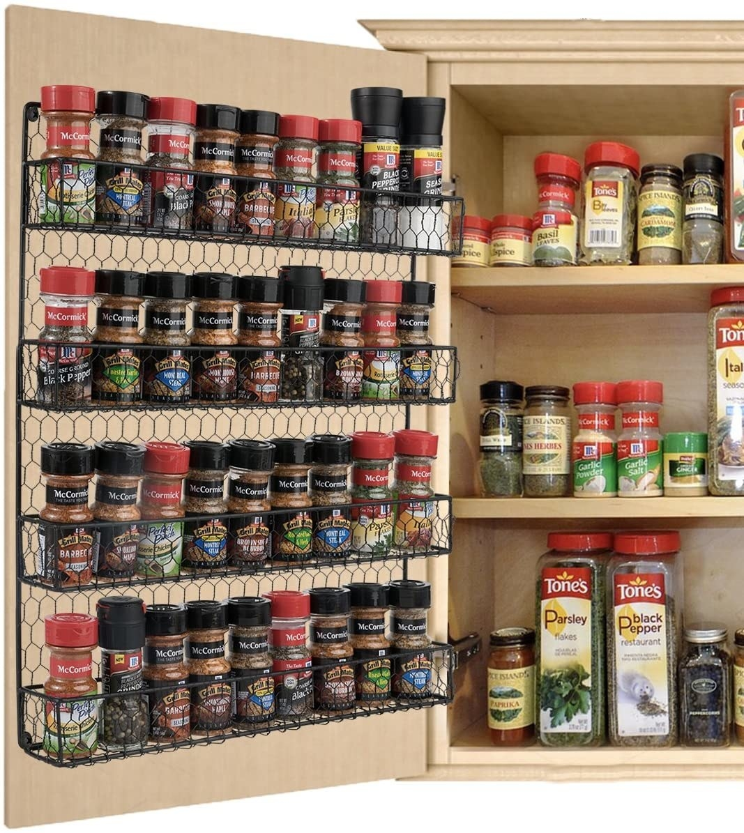 Black wire spice shelving attached to cabinet