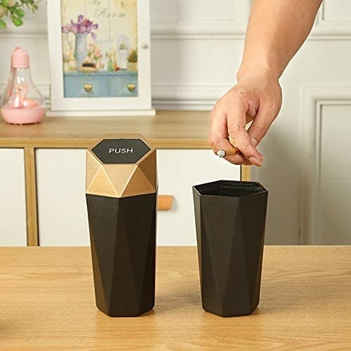 cup-size garbage can with gold glam lid