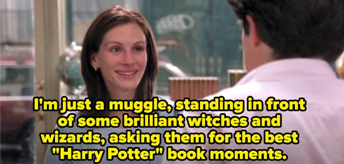"""A meme of Julia Roberts from """"Notting Hill"""" asking Hugh Grant to tell him the best """"Harry Potter"""" book moments -- a play on the """"I'm just a girl"""" monologue"""