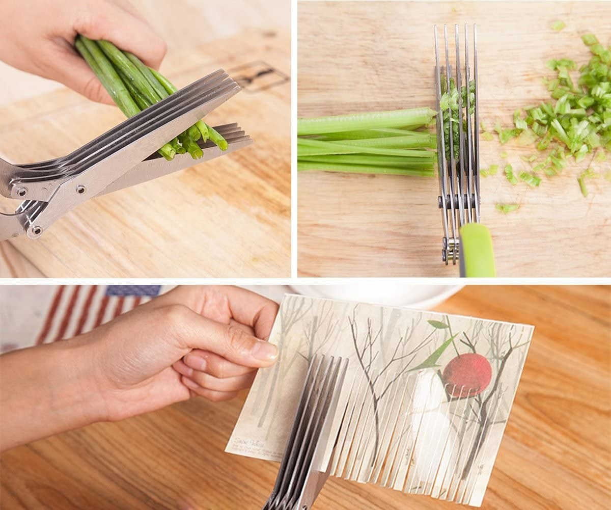 The shears can be used to chop herbs, finely cut green onions, or cut slices into paper