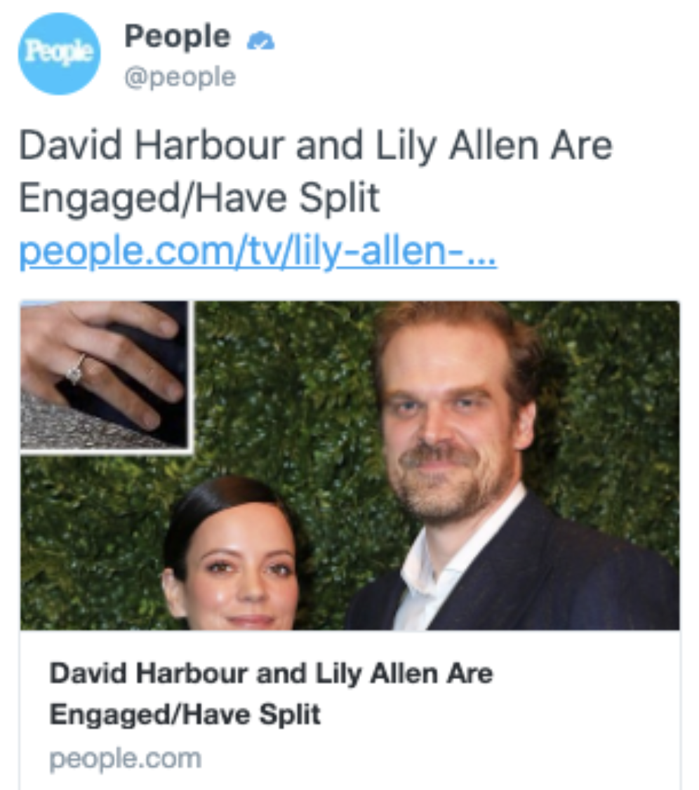 """People Magazine pre-write template saying David Harbour and Lilly Allen """"Are Engaged/Have Split"""""""
